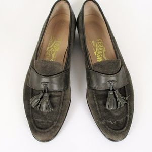 Ferragamo 8 Green Leather Loafers Tassel Slip on